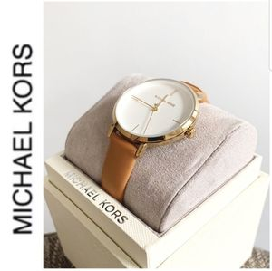 WT authentic MK gold tone tan leather band watch